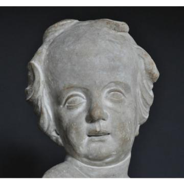 Holzgeschnitzter Kopf, Linde, 18. Jh., alte Fassung, modere Montage, Portrait