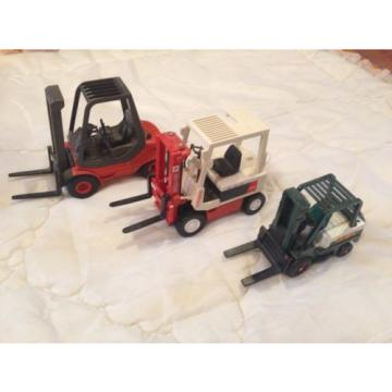 Lot of 3 Toy Mini Forklift Industrial Construction Vehicle Nissan Schuco Linde