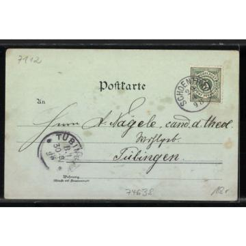 alte Mondschein-Lithographie Waldenburg, Fürstl. Schloß, Linde, Pfarrhaus 1898