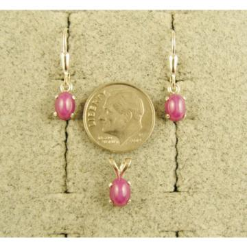 VINTAGE LINDE LINDY PINK STAR RUBY CREATED SAPPHIRE SET EAR PENDNT CHAIN .925 SS