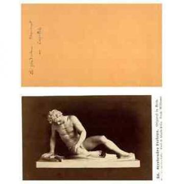 """E. Linde, Une sculpture """"Le Gladiateur Mourant"""" CDV vintage albumen carte de vis"""