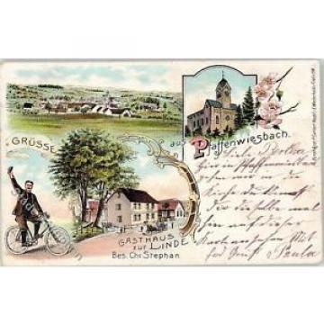 52025266 - Pfaffenwiesbach Gasthaus zur Linde Besitzer Chr. Stephan Kirche Fahrr
