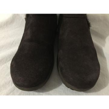 BearTraps 'Cammy' Ankle Boots Brown Suede Faux Fur Linde Size 7.5M