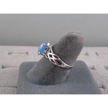 VINTAGE SIGNED LINDE BAHAMA BLUE STAR SAPPHIRE CREATED RING RHOD PL .925 S/S