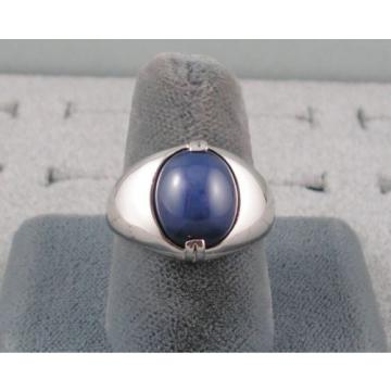 VINTAGE SIGNED LINDE LINDY CRNFLWR BLUE STAR SAPPHIRE CREATED RING RHD P .925 SS