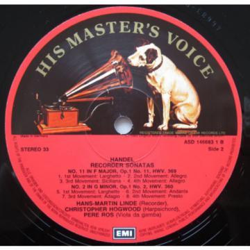 ASD 1466831 Handel Four Recorder Sonatas Linde Hogwood Ros 1983 EMI Digital EX