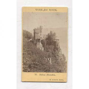 CDV - PHOTO - ALLEMAGNE Schloss Rheintein E. Linde Berlin Vues du Rhin vers 1880