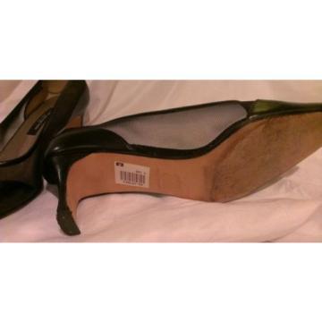 Susan van der Linde Spectator Heels * 8.5 US, 39 EU * Black Leather and Mesh