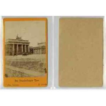 E. Linde, Allemagne, Berlin La porte de Brandebourg CDV vintage albumen carte de