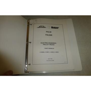 Linde Baker electric pallet truck Parts Manual forklift/PALW/C-2650 ++ 1993