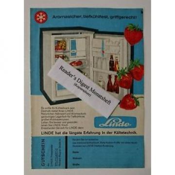 Werbeanzeige/advertisement A5: Linde Kältetechnick - Kühlschrank 1960 (02091699)