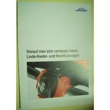 Sales Brochure Original Prospekt Linde Nieder & Hochhubwagen 14 Seiten