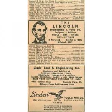 1946 Linde Tool Engineering Franklin Park Licoln Dayton Ohio Ad
