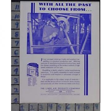 1931 LINDE AIR CONSTRUCTION FABRICATION OX-WELDING TORCH VINTAGE ART AD  CY95