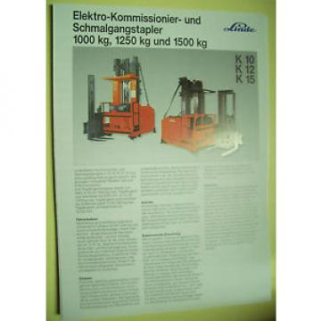 Original Prospekt Linde Elektro-Hochhub-Kommisionierer &Schmalgangstapler K10,12