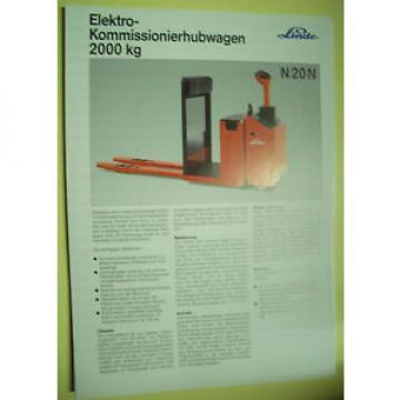 Sales Brochure Original Prospekt Linde Elektro-Kommisionierhubwagen N 20 N
