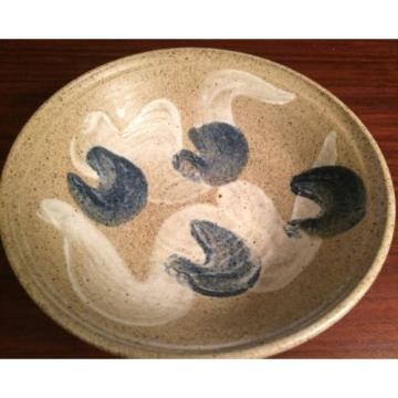 Hawkdancing Stoneware Salt Glazed Hand Thrown Bowl. Artist Signed by Nils Linde