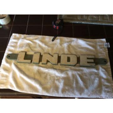 Vintage OLD CAST aluminum  Linde Equipment machine SIGN original