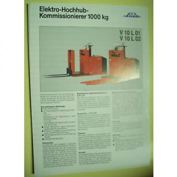Sales Brochure Original Prospekt Linde Elektro-Hochhub-Kommisionierer V 10 L 01