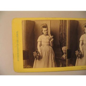 Woman Stereoview Photo cdii Loescher Petsch E Linde Sophus Williams 100 Flowers
