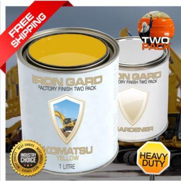 IRON GARD 1L Two Pack Paint KOMATSU YELLOW Excavator Loader Bucket Attach Dozer