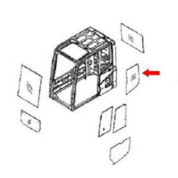 20Y-54-A5120 Rear LH Side Glass Fits Komatsu Excavator PW170ES-6K PC300-6, PC16