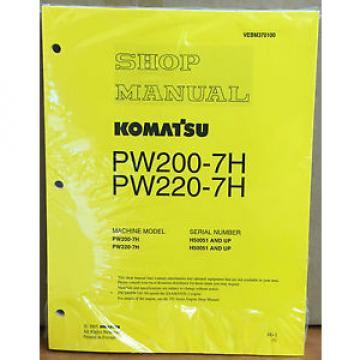 Komatsu Service PW200-7H PW220-7H Excavator Shop Manual NEW REPAIR BOOK