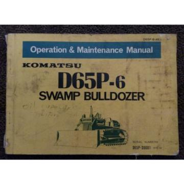 KOMATSU  D65P-6 OPERATION & MAINTENANCE MANUAL 30001-UP