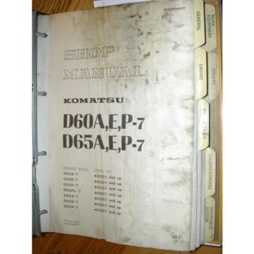 Komatsu D60 D65A,E,P-7 SERVICE SHOP REPAIR MANUAL TRACTOR BULLDOZER BINDER BOOK