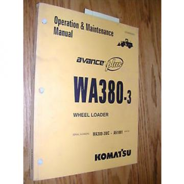 Komatsu WA380-3 OPERATION MAINTENANCE MANUAL WHEEL LOADER OPERATOR GUIDE BOOK