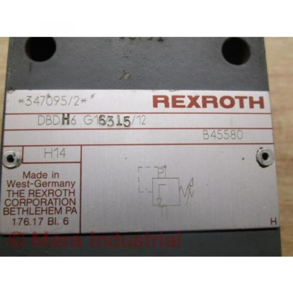 Rexroth Mexico India DBDH6 G16315/12 Pressure Relief Valve - Used #6 image