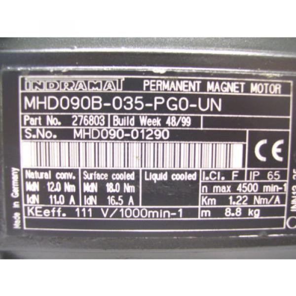 REXROTH Mexico Germany INDRAMAT  PERMANENT MAGNET MOTOR  MHD090B-035-PG0-UN   60 Day Warranty! #5 image
