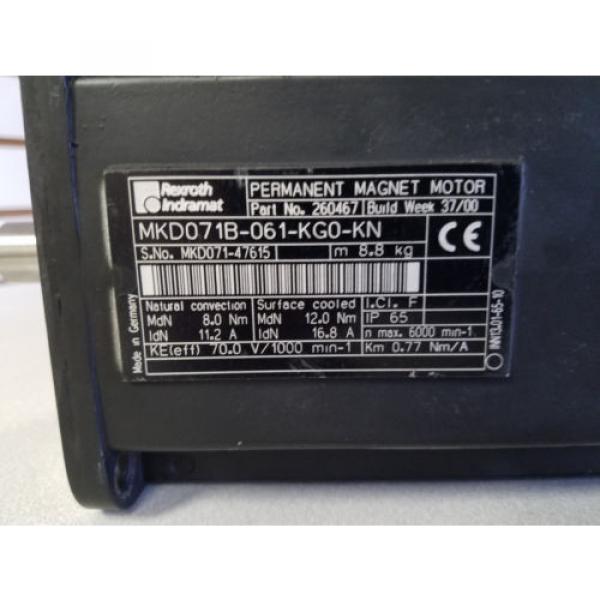 Certified China Korea Rexroth Indramat MKD071B-061-KG0-KN Motor, PN: 260467 #2 image
