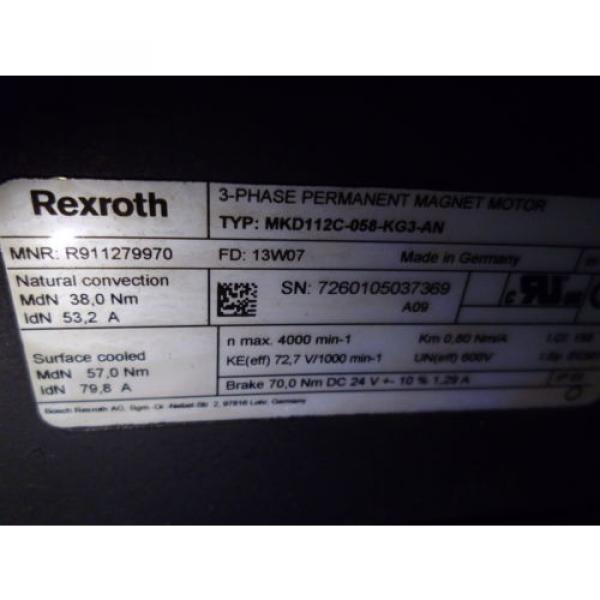 REXROTH Russia Dutch MKD112C-058-KG3-AN 3-PHASE PERMANENT MAGNET MOTOR *NEW NO BOX* #4 image