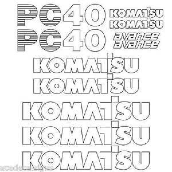 Komatsu PC40-7  Decals Stickers, repro Kit for Mini Excavator #1 image