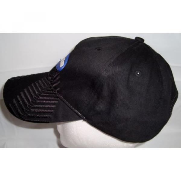 Komatsu Black Blue Embroidered Tracks Rubber Logo Strapback Baseball Cap Hat #3 image