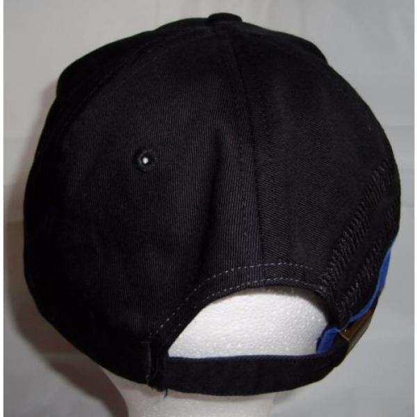 Komatsu Black Blue Embroidered Tracks Rubber Logo Strapback Baseball Cap Hat #4 image