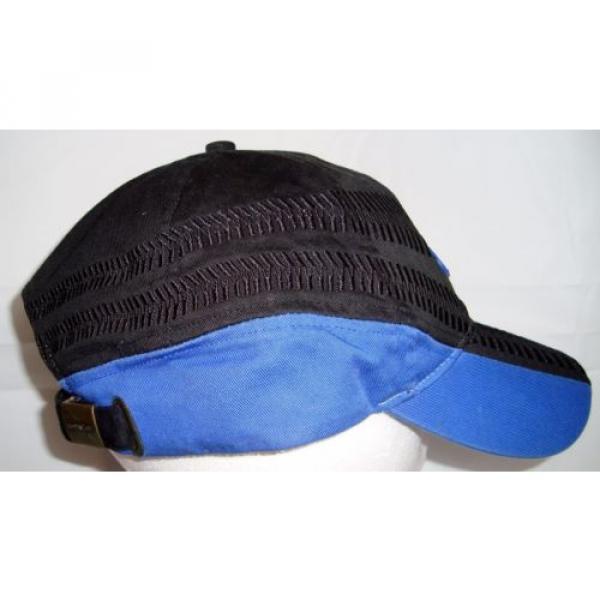 Komatsu Black Blue Embroidered Tracks Rubber Logo Strapback Baseball Cap Hat #5 image