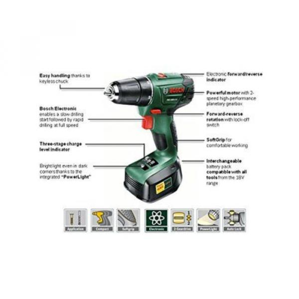 Bosch PSR 1800 LI-2 Cordless Lithium-Ion Drill Driver Featuring Syneon Chip 1... #5 image