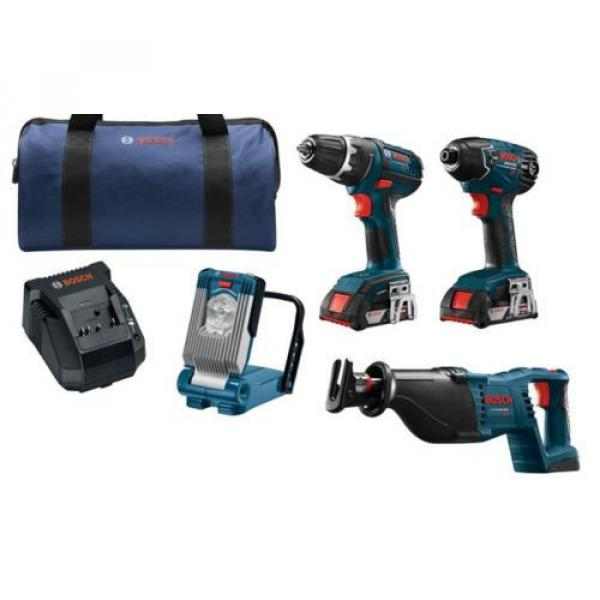 New Bosch,4-Tool,18 Volt, Lithium Ion,Cordless Combo Kit,Soft Case,Drill, Driver #1 image