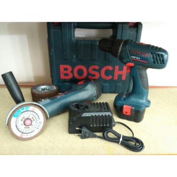Amoladora y Atornillador a bateria Bosch + 15 discos de corte sds rapido #1 image