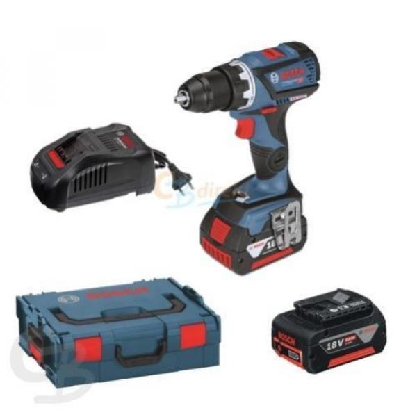 Bosch cordless drill GSR 18 V-60 C 2x 5Ah Li Ion Battery L-Box 06019g1101 #1 image