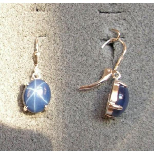 LINDE LINDY 10X8MM 5+ CTW CF BLUE STAR SAPPHIRE CREATED S/S LEVERBACK EARRINGS #1 image
