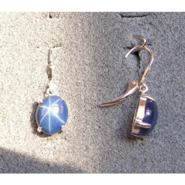 LINDE LINDY 10X8MM 5+ CTW CF BLUE STAR SAPPHIRE CREATED S/S LEVERBACK EARRINGS #2 image