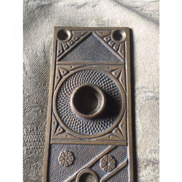 Antique Victorian Cast Bronze Entry  Doorknob Backplate -  F.C. Linde & Co. #2 image