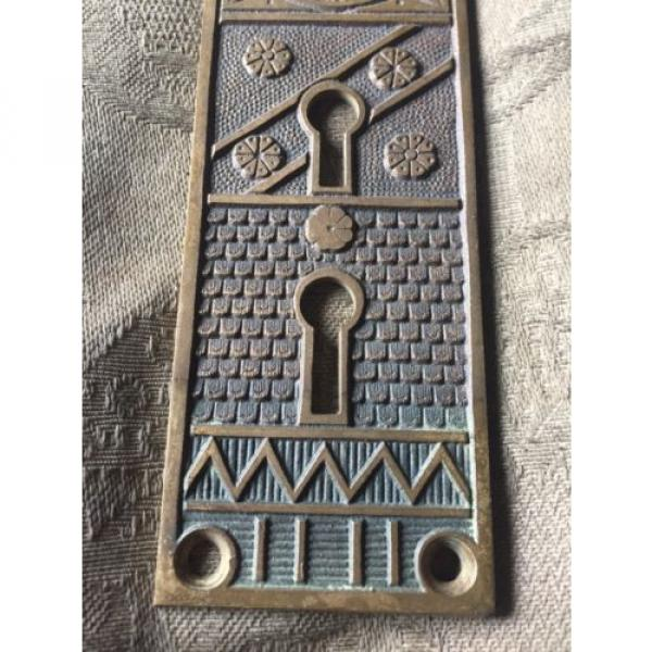 Antique Victorian Cast Bronze Entry  Doorknob Backplate -  F.C. Linde & Co. #3 image