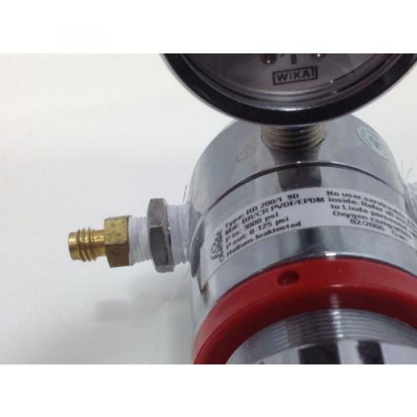 LINDE Gas regulator type RB 200/1 9D single stage 0-125 psi Oxygen compatable #2 #4 image