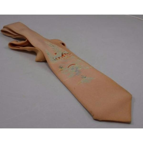 Mens Necktie Tie Vintage 1950 Christmas Painted House Tree Creek Longs Linde USA #2 image