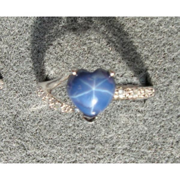 8X8MM HEART LINDE LINDY CF BLUE STAR SAPPHIRE CREATED 2ND RD PLT .925 S/S RING #1 image