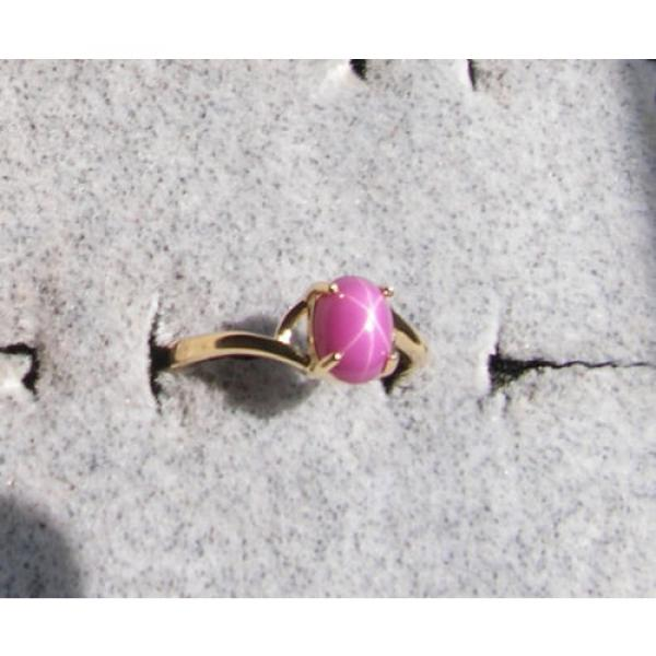 VINTAGE LINDE LINDY PINK STAR RUBY CREATED SAPPHIRE RING SOLID 14K YELLOW GOLD #1 image